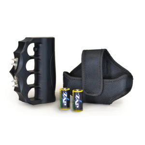 brass knuckle stun gun together with strap case and batteries