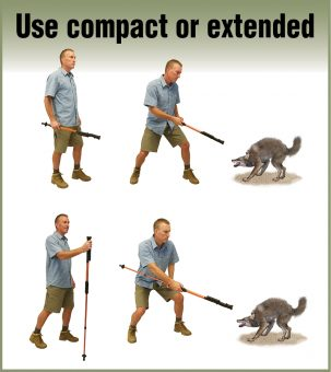 man demonstrating hiking stun staff used compact or extended